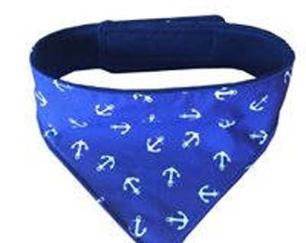 Dog Bandana Blue Anchors Fully adjustable