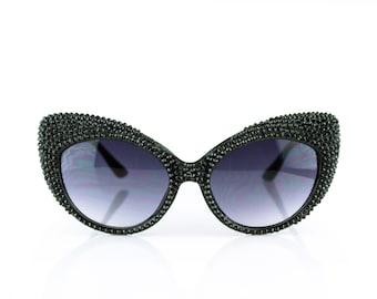 Black Studded Swarovski Crystal Fashion Cateye Rhinestone Sunglasses