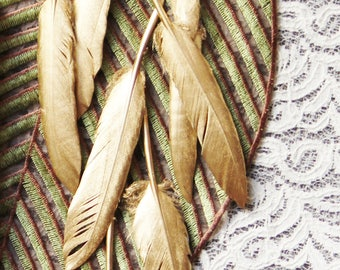 Feather Confetti - Hand Painted Emperor Gold Feather Wedding Decor Wedding Gift Home Decor Bridal Shower Decorations