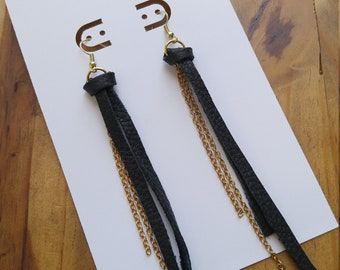 Long Leather Earrings, Gold and Black, Gold Chain and Black Leather, Long Statement Earrings, Handmade Jewelry