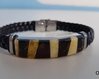 Genuine Baltic Amber with Leather Bracelet, Mixed Color Amber Bracelet with Leather