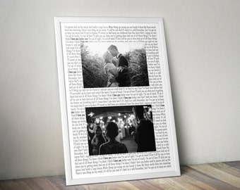 Wedding Song - First Dance print! Perfect for newlyweds. Your first dance song with 2 wedding photographs.