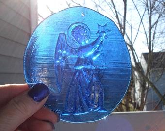 Vintage Cobalt Blue Glass Angel Suncatcher Stained Glass Window Decoration
