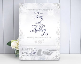 Snowflake / Winter Wedding Welcome Sign