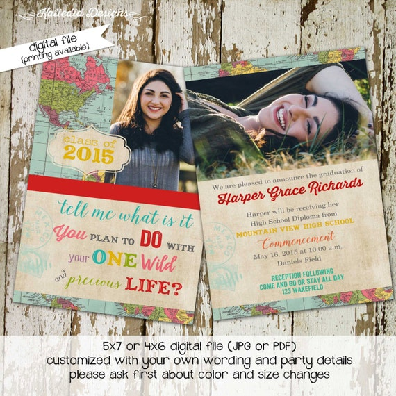 graduation invitation adventure awaits travel theme oh the places you'll go announcement world map high school picture photo | 606 Katiedid