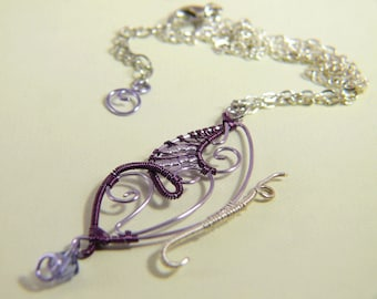 Copper Butterfly Necklace with purple and Lilac