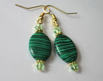 Malachite Earrings, Malachite Gemstone, Striped Stone, Beaded Earrings, Oval Dangle Earrings, Green Stone Earrings