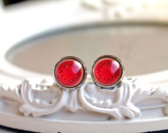 Pretty watermelon   studs silver toned fruit lolita red pink earrings