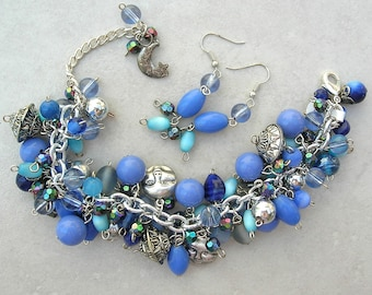 Midnight Moons, Blue ChaCha Bracelet & Earrings, Loaded with Charms and Various Blue and Turquoise Beads, Set by SandraDesigns
