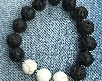 Volcano Bead Stretch Bracelet - Essential Oils - Handmade