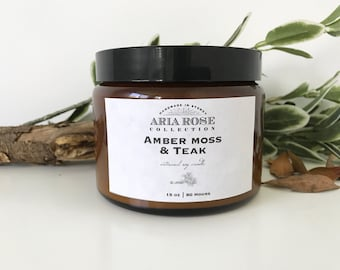 Amber Moss & Teak Large Scented Soy Candle - 15 oz