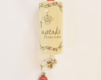 Wine Cork Ornament, Wine Bottle Charm, Cupcake Wine Cork Ornament
