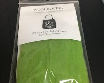 Wool Roving Green Needle felting Felt Gift for mom her spinning fiber yarn Fabric