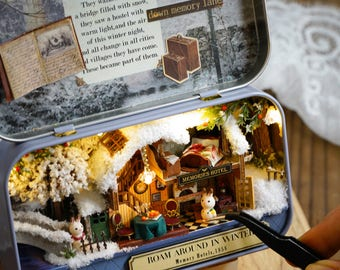 UK stock! DIY Box Theatre with Light Cosy winter cottage DIY Handcraft Miniature Project*Dollhouse Kit