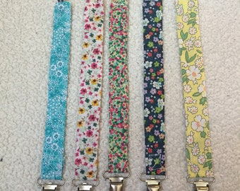 Pacifier Clips, Paci Clip, Binky Clip, Floral, Baby Girl