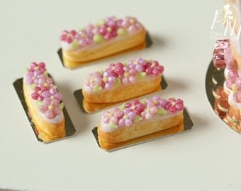 Pink Blossom French Eclair - Individual Pastry - 12th Scale Miniature Food (Pink Collection 2016)