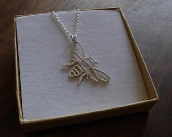 Silver Bee Pendant Necklace, Satin