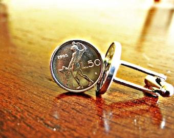 Italian 50 Lire Naked Blacksmith Coin Cufflinks