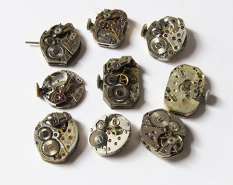 """9 Vintage Watch Movements- 9 watch parts/supplies large lot of watch movements 3/4"""""""