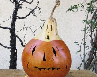 Halloween Gourd Ghost Top Jack O Lantern Primitive Holiday Pumpkin Decoration