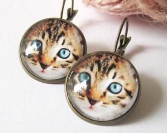 Cat Face Antique Brass Dangle Earrings