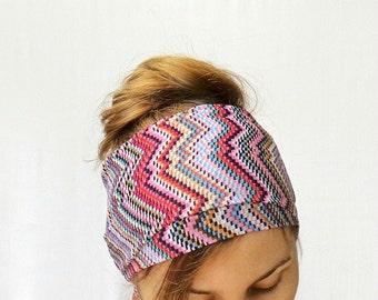 ethnic head scarf boho head wrap long summer headwrap beach hair band zigzag pink bright hippie chevron music festival accessory