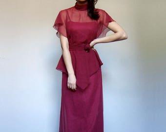 Vintage Maxi Dress 70s Long Summer Dress Womens Long Peplum Dress 1970s Floor Length Dress - Extra Small to Small XS S