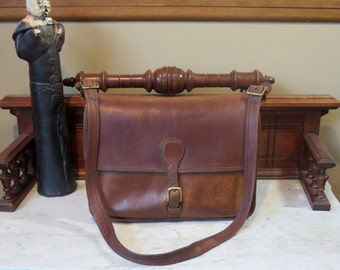 Etsy BDay Sale Coach Mocha Letter Brief - Briefcase - Leatherware Logo Made in New York City, U.S.A. - Very Rare