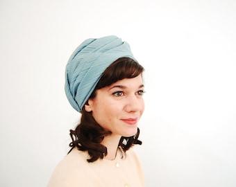 Vintage 1960s Turban - 60s Turban Hat - Baby Blue Linen - Deadstock