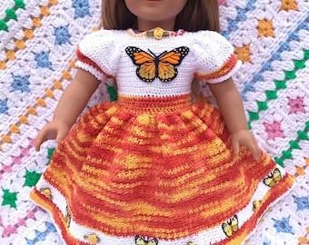 Crochet Long Batterfly Dress For American Girl and 18 Inch Soft Body Dolls