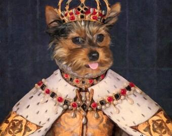 Custom Pet portrait, Personalized Dog portrait, Cat portrait from photo, Royal Queen