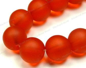 10mm Tangerine Orange Red Matte Sea Glass Round Beads - 8 Inch Strand - Frosted Beach Glass - BE35