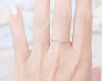 Tiny Infinity Ring - 14k gold filled delicate chain ring with a tiny handmade infinity, gold ring,simple gold ring,everyday