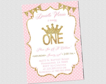 First Birthday Invitation - Pink and Gold Crown Glitter Invite - First Birthday Invite - PRINTABLE