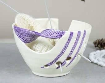 White Ceramic Yarn Bowl Knitting bowl off-white Crochet Bowl Modern home living purple twisted leaf knitter gift Yarn supplies MADE TO ORDER