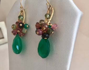 Wire-wrapped Green Onyx & Tourmaline Dangle Earrings, Gold earrings,  Artisan Jewellery, Unique Gift