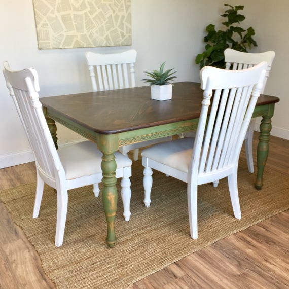 Farmhouse Table Set - Country Cottage Furniture - Farmhouse Table and Chairs - Distressed Furniture - Farm Dining Table - Rustic Farm Table