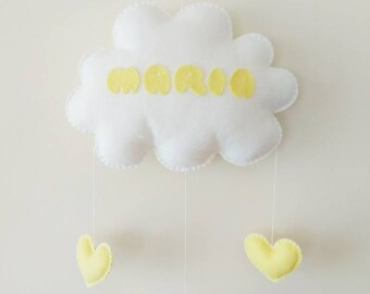 Baby Mobile | Cloud Mobile | Baby Name Mobile | Nursery Decor | Baby Shower Gift | Crib Mobile | Kids Room | Personalised - MADE TO ORDER