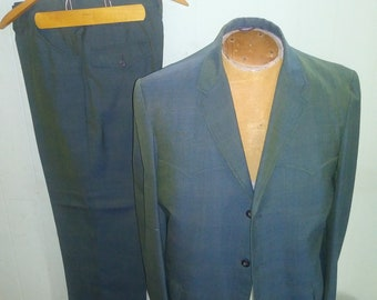 Absolutely Primo Early 60s Mens Blue-Green Sharkskin plaid Western Suit by Allan of Denver - M