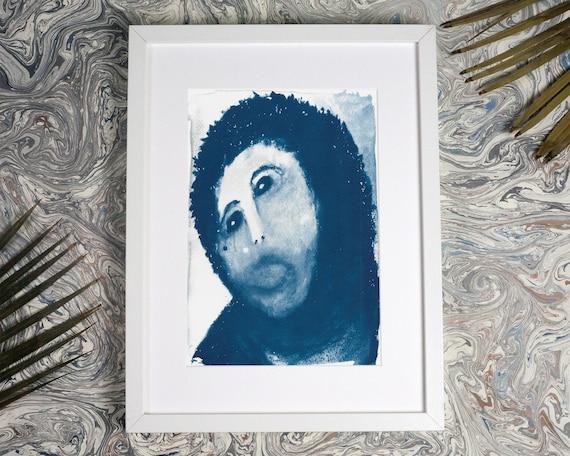 Ecce Homo, or Spanish Jesus Restoration Painting Meme, Cyanotype, Jesus Meme, Funny Art Print, Funny Meme Art, Meme Gifts, Husband Gift