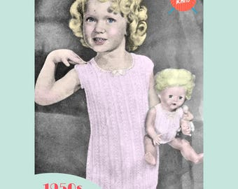 Child's and Doll's Vest and Undies - PDF download vintage knitting pattern from the 1940s / 1950s
