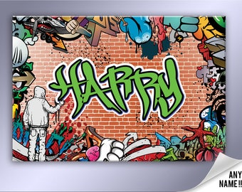Personalised Graffiti brick wall canvas