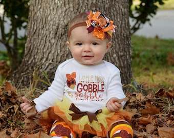 Thanksgiving Baby Girl Outfit | Baby Girl Clothes | Fall Outfit | Baby's First Thanksgiving | Take Home Outfit | Baby Shower Gift | Turkey
