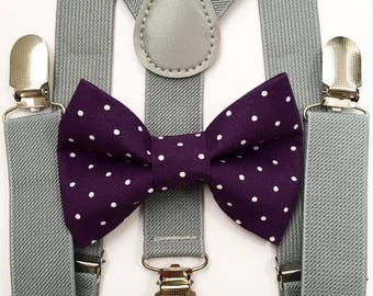 FREE DOMESTIC SHIPPING! Gray suspenders  + purple polka dot Bow tie toddler kids boy boys Adult holidays photos family photoshoot