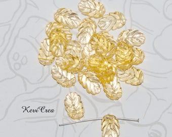 20 x yellow acrylic leaf beads