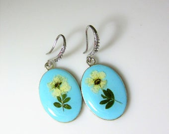 Bridal Wreath Flower Earrings,   Real Flower Earrings,   Pressed Flower Jewelry (2025), Resin