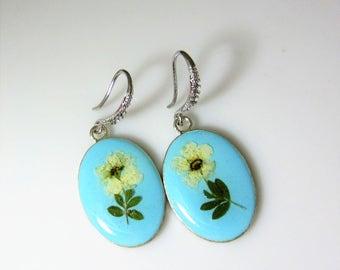 Bridal Wreath Flower Earrings,   Real Flower Earrings,   Pressed Flower Jewelry (2025), Resin