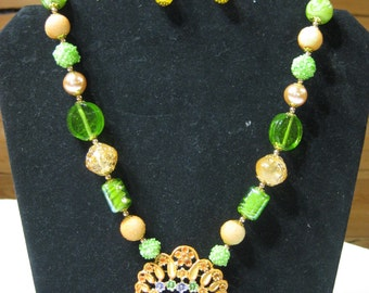 Peach and Green Handcrafted Necklace and Earring   OOAK