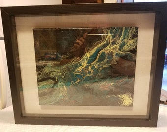 "11x14 Shadow box featuring an 8x10 Acrylic painting ""A river runs through it"""