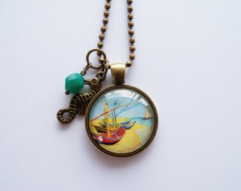 Art Pendant Necklace - Van Gogh Fishing Boats on the Beach - You Choose Bead and Charm - Custom Jewelry - Art Jewelry - Customized